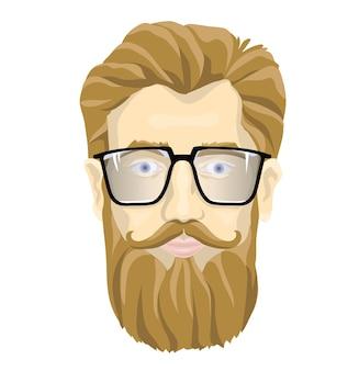 Il volto di un uomo barbuto con gli occhiali. illustrazione ritratto, isolato su sfondo bianco.
