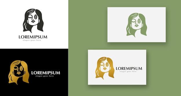 Logo minimal femminile di bellezza del viso