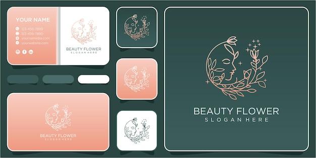 Ispirazione per il design del logo del fiore di bellezza del viso. marchio del fiore. logo di bellezza del viso. design del logo di bellezza con biglietto da visita
