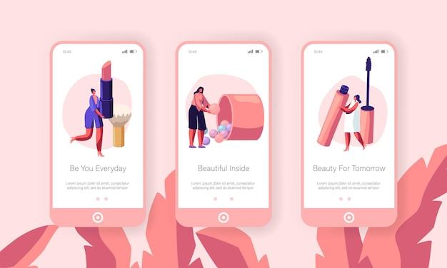 Set di schermi integrati per la pagina dell'app mobile per la cura del viso