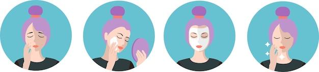 Cura del viso problemi di pelle acne e infiammazione infografica di pulizia routine di cura della pelle fasi di cura della pelle dell'acne passi come applicare la crema per il viso isolata insieme di illustrazioni