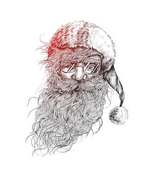 Volto del personaggio di natale babbo natale design. testo di buon natale - illustrazione vettoriale
