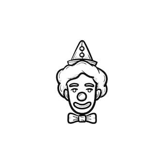 Il volto dell'icona di doodle di contorni disegnati a mano del pagliaccio. pagliaccio del circo con il naso del giocattolo sull'illustrazione di schizzo di vettore del fronte per stampa, web, mobile e infografica isolato su priorità bassa bianca.