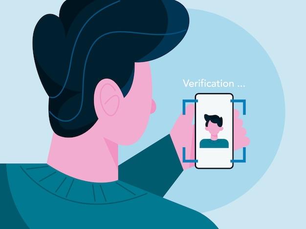 Tecnologia moderna di rilevamento del viso mediante scansione del viso dell'uomo. sistema di verifica. sicurezza dei dati personali, scanner biometrico.