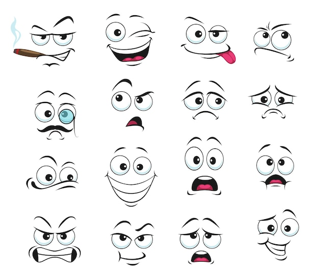 Icone isolate di espressione del viso, divertente cartone animato emoji fumo di sigaro, occhiolino e triste, sorridente, confuso e indossare occhiali monocolo con i baffi. set di espressioni del viso allegro, arrabbiato e mostra la lingua