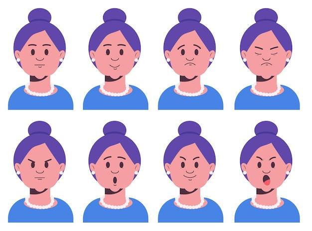 Espressioni del viso della nonna set di vecchi personaggi emotivi femminili