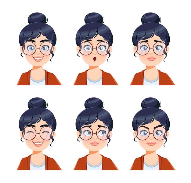 Espressioni del viso di una donna con gli occhiali set di diverse emozioni femminili insegnante di personaggi dei cartoni animati