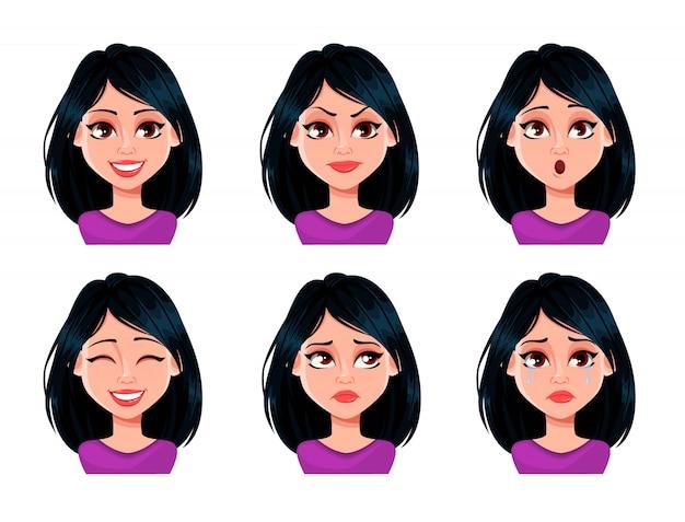 Espressioni facciali di donna con i capelli scuri