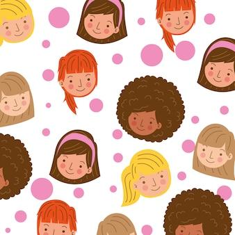 Modelli di ragazza faccia con forme di cerchi rosa. illustrazione
