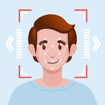 Face identification facial recognition system concept.