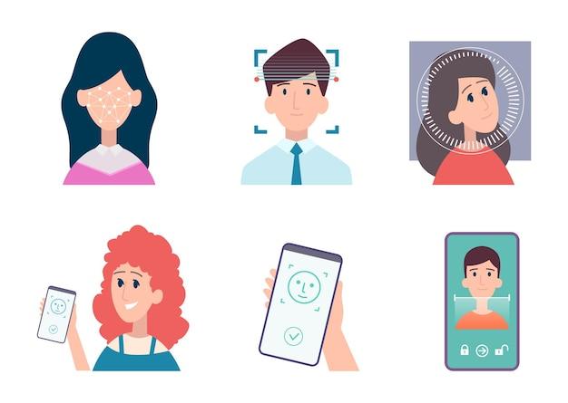 Identificazione del viso. identificazione biometrica persone riconoscimento sicurezza smartphone accesso web tecnologia di identificazione intelligente set