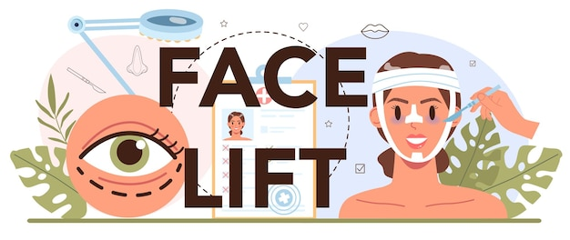 Intestazione tipografica di lifting facciale