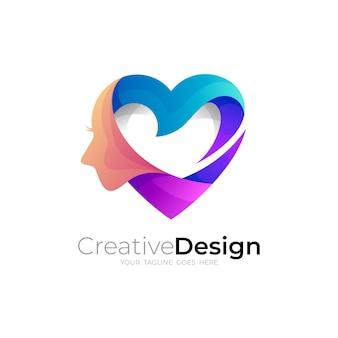 Logo del viso e modello di design per la cura dell'amore, loghi di beneficenza