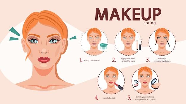 Tutorial trucco viso per donna. applicazione di crema e correttore