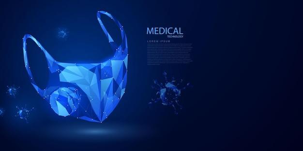 Maschera per il viso trattamento medico nella tecnologia astratta del concetto di innovazione