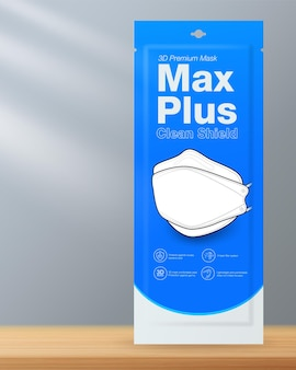 Mascherina per il viso design di imballaggio maschera medica a forma 3d su pavimento in legno con sfondo grigio