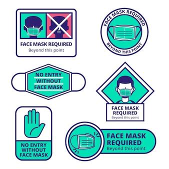 Collezione di segni richiesti maschera facciale