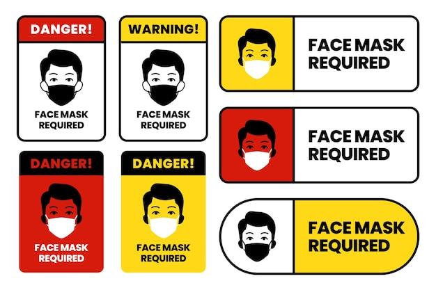 Set di segni richiesti maschera facciale
