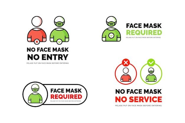 La maschera facciale richiede un segnale di prevenzione dell'avvertimento. nessuna maschera per il viso nessun design del segno di ingresso. sagoma di profilo umano con maschera facciale