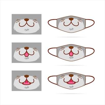 La maschera di protezione ha messo con l'illustrazione grigia sveglia del fronte della bocca dell'animale domestico del lupo del cane del gatto