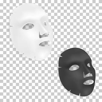 Foglio per maschera facciale. maschera facciale cosmetica di bellezza, nera, bianca