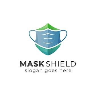 Logo del concetto di maschera e scudo o disegno dell'icona del simbolo
