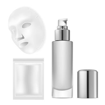Maschera per il viso con custodia. maschera per il viso cosmetica pacchetto argento