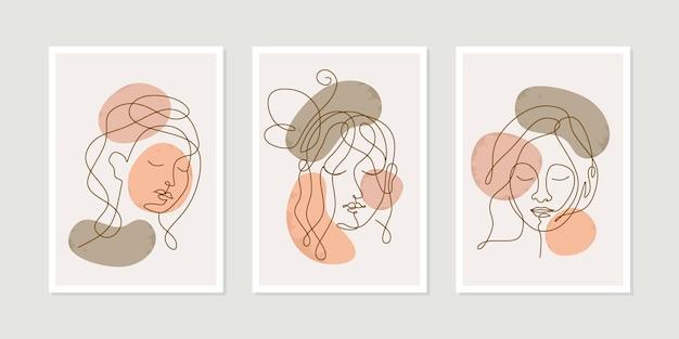 Affronta un disegno artistico con un set di poster di bellezza donna