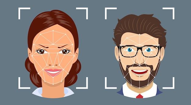 Riconoscimento facciale, sistema di sicurezza biometrico.