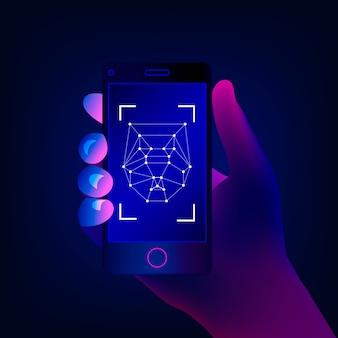 Concetto di riconoscimento facciale. tecnologie ad alta tecnologia. la mano tiene uno smartphone sullo schermo dell'app di rilevamento del viso. illustrazione.