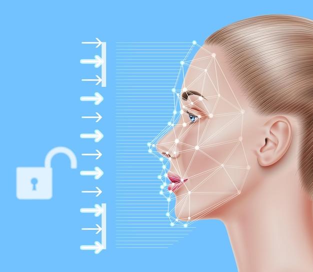 Concetto di identificazione di riconoscimento facciale scansione biometrica del viso di una bella ragazza realistica