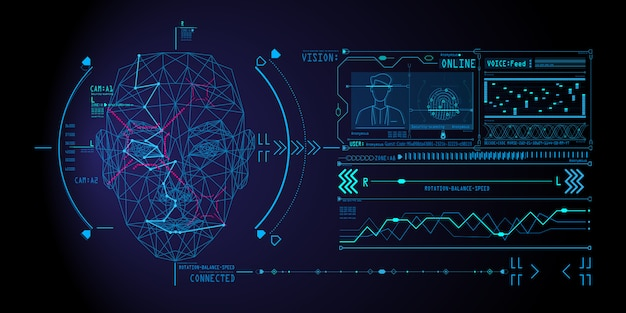 Sistema di riconoscimento facciale con scansione del viso umano a basso poligono.