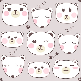 Set di facce di orso polare.