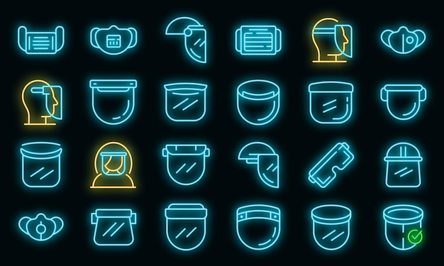 Set di icone di visiera. contorno set di icone vettoriali scudo facciale colore neon su nero