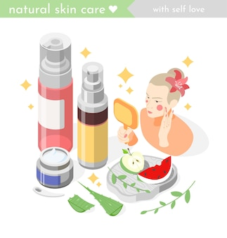 Illustrazione isometrica di cura della pelle del viso con la donna che applica la lozione sul viso