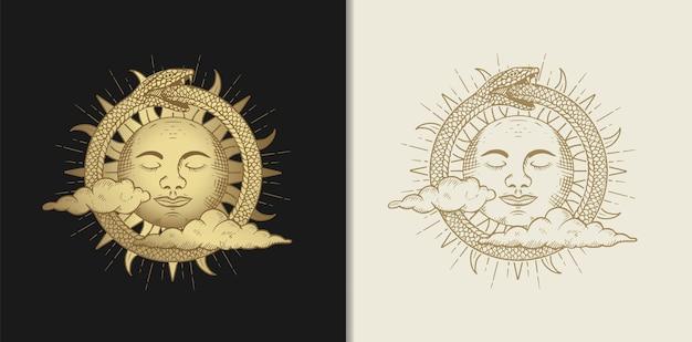 Il volto del sole circondato da serpenti e decorato con nuvole, illustrazione con temi esoterici, boho, spirituali, geometrici, astrologici, magici, per carta di lettore di tarocchi
