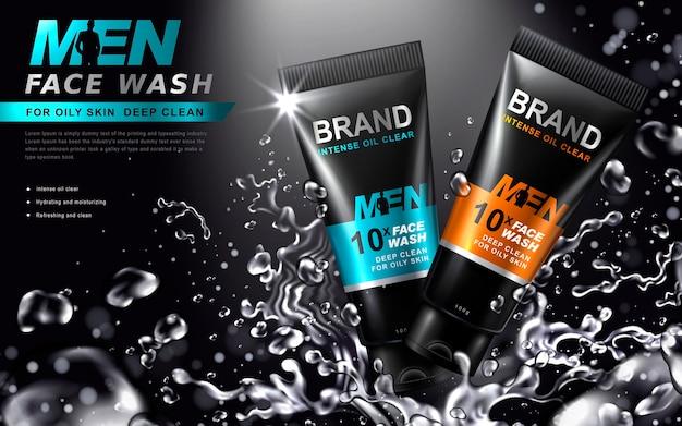 Detergente viso per uomo contenuto in tubi con spruzzi d'acqua, sfondo nero