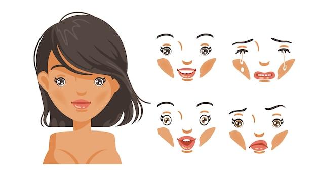 Set di donne faccia. moda moderna per l'assortimento. testa di acconciatura femminile. ragazza dai capelli neri.