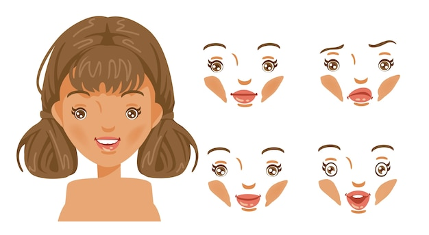 Set di donne faccia. moda moderna per l'assortimento. testa di acconciatura femminile. ragazza capelli castani.