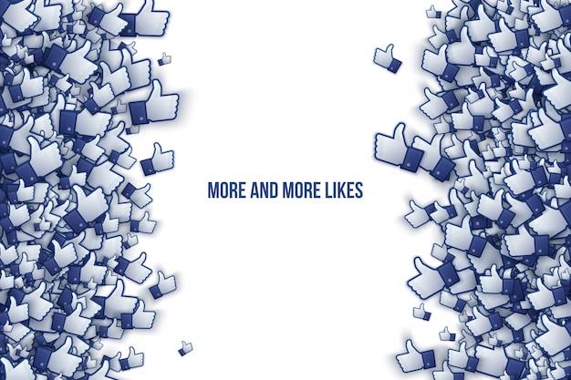 Il vettore di facebook 3d gradisce l'illustrazione di arte delle icone della mano