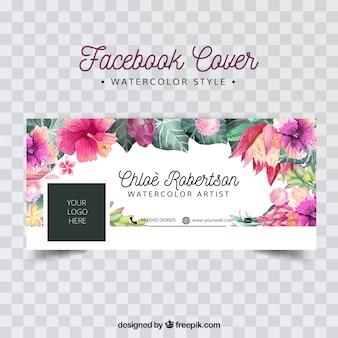 Copertina facebook con fiori di acquerello Vettore Premium