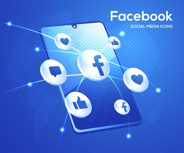 Icone di social media di facebook d con il simbolo dello smartphone