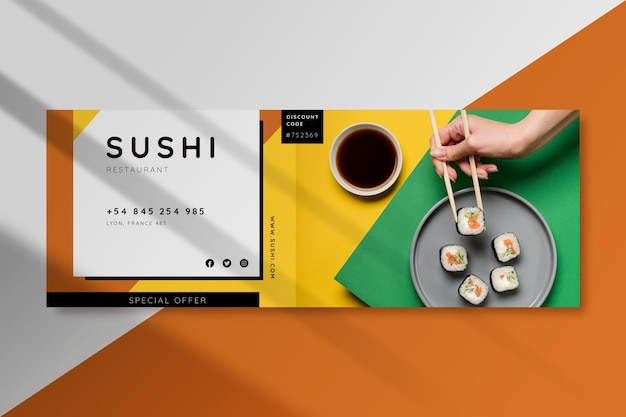 Modello di copertina del ristorante di cibo di facebook