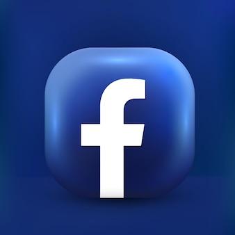 Icona di facebook 3d social media in stile carino