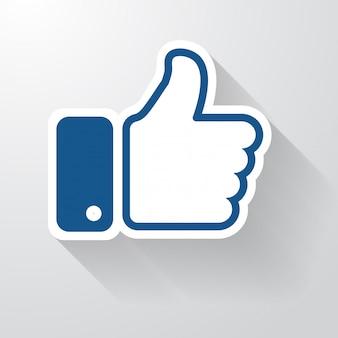 Icona mi piace di facebook con una lunga ombra che sembra semplice. pollice su