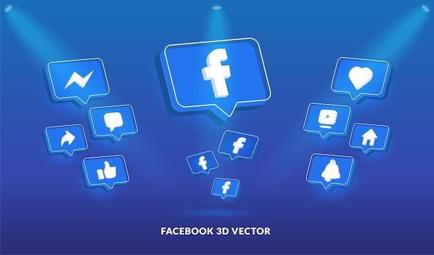 Logo di facebook e set di icone in stile vettoriale 3d