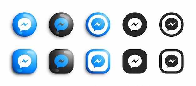 Facebook messenger icone moderne 3d e piatte