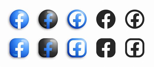 Facebook 3d moderno e set di icone piatte