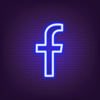 Logo al neon di facebook. icona di facebook. icone dei social media. set di app facebook realistico. logo. vettore. zaporizhzhia, ucraina - 24 luglio 2021