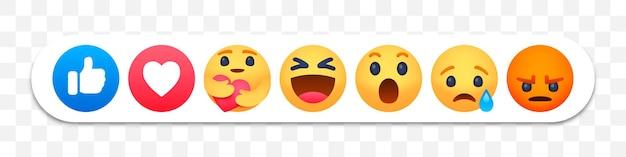 Set di emoji di reazione di facebook Vettore Premium